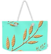 Golden Leaves On Aqua Weekender Tote Bag