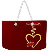 Golden Metal Frame Heart Weekender Tote Bag