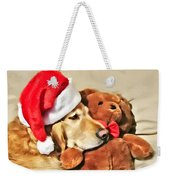 Golden Retriever Dog Christmas Teddy Bear Weekender Tote Bag