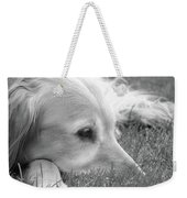Golden Retriever Dog In The Cool Grass Monochrome Weekender Tote Bag