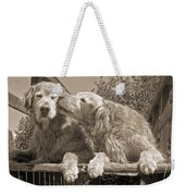 Golden Retriever Dogs The Kiss Sepia Weekender Tote Bag