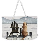Golden Retriever On The Dock Weekender Tote Bag