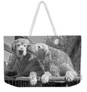 Golden Retrievers The Kiss Black And White Weekender Tote Bag