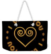 Golden Scrolled Heart And I Love You Weekender Tote Bag