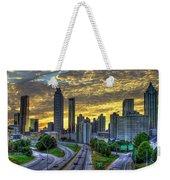 Golden Skies Atlanta Downtown Sunset Cityscape Art Weekender Tote Bag