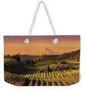 Golden Sunset Over Hood River Pear Orchard Weekender Tote Bag