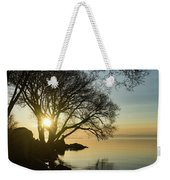 Golden Tranquility - Lacy Tree Silhouettes On The Lake Shore Weekender Tote Bag