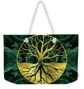 Golden Tree Of Life Yggdrasil On Malachite Weekender Tote Bag