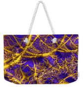 Golden Vines Blue Velvet Weekender Tote Bag