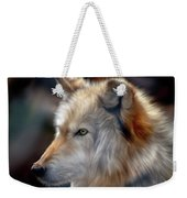 Golden White Wolf Weekender Tote Bag