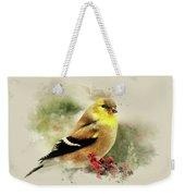 Goldfinch Watercolor Art Weekender Tote Bag