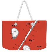 Golf Club Patent Drawing Red Weekender Tote Bag