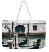Gondolas On A Canal In Venice, Italy Weekender Tote Bag