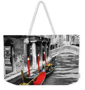Gondolas On Venice. Black And White Pictures With Colour Detail  Weekender Tote Bag