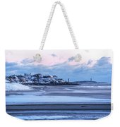 Good Harbor Beach And Thacher Island Covered In Snow Gloucester Ma Weekender Tote Bag