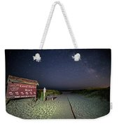 Good Harbor Beach Sign Under The Stars And Milky Way Weekender Tote Bag