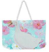 Goose On Floral Background Weekender Tote Bag