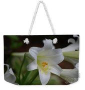Gorgeous Blooming White Lily With Yellow Pollen On It's Stamen Weekender Tote Bag