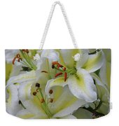 Gorgeous Cluster Of Blooming White Lilies In A Bouquet Weekender Tote Bag