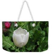 Gorgeous Flowering White Tulip In A Spring Garden Weekender Tote Bag