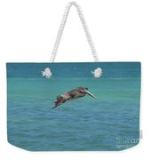 Gorgeous Grey Pelican With His Wings Extended In Flight  Weekender Tote Bag