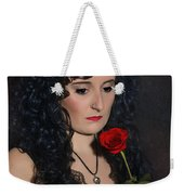 Gothic Woman With Rose Weekender Tote Bag