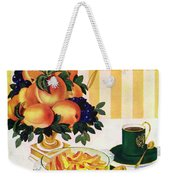 Gourmet Cover Featuring A Centerpiece Of Peaches Weekender Tote Bag