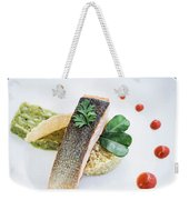 Gourmet Salmon Fish  Fillet With Rice And Guacamole Meal Weekender Tote Bag