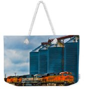 Grain Silos And Bnsf Train Weekender Tote Bag