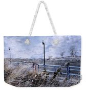 Grand Haven Channel With Winter Waves  Weekender Tote Bag