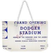Grand Opening Dodger Stadium Ticket Stub 1962 Weekender Tote Bag