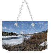 Grand Tetons From Oxbow Bend At A Distance Weekender Tote Bag