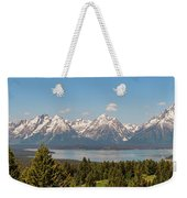 Grand Tetons Over Jackson Lake Panorama Weekender Tote Bag