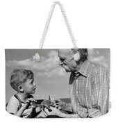 Grandfather And Boy With Model Plane Weekender Tote Bag