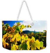 Grape Leaves And The Sky Weekender Tote Bag by Elaine Plesser