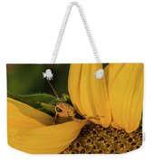 Grasshopper In Sunflower Weekender Tote Bag