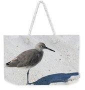 Gray Sandpiper On White Beach Weekender Tote Bag