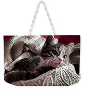 Gray Tabby With White Quilted Throw Weekender Tote Bag