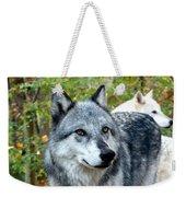 gray Wolf Pair Weekender Tote Bag