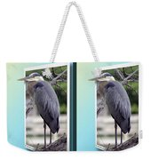 Great Blue Heron - Gently Cross Your Eyes And Focus On The Middle Image Weekender Tote Bag