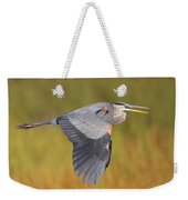 Great Blue Heron In Flight Weekender Tote Bag by Bruce J Robinson