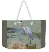 Great Blue Heron Near Pond Weekender Tote Bag