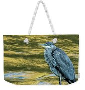 Great Blue Heron On A Golden River Vertical Weekender Tote Bag