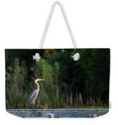 Great Blue Heron On A Handrail Weekender Tote Bag