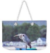 Great Blue Heron On Keuka Lake Horizontal Pano Weekender Tote Bag