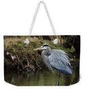 Great Blue Heron On The Watch Weekender Tote Bag by George Randy Bass