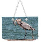 Great Blue Heron Walking With Fish #2 Weekender Tote Bag