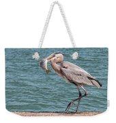 Great Blue Heron Walking With Fish #3 Weekender Tote Bag