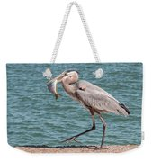 Great Blue Heron Walking With Fish #4 Weekender Tote Bag