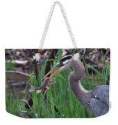Great Blue Heron With His Catch Weekender Tote Bag